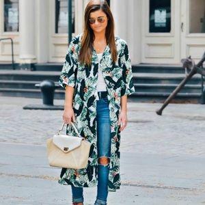 Rachel Zoe palm tree kimono/swimsuit cover up